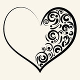 Beautiful silhouette of heart with swirls. Vector illustration Stock Photography
