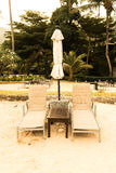 Beautiful Silhouette luxury umbrella and chair around swimming p Royalty Free Stock Photography