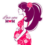 Beautiful silhouette of pregnant woman Stock Images