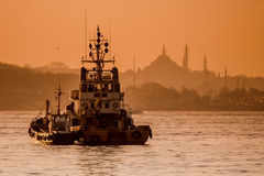 Beautiful Silhouette of Ship and  Mosques at Sunset on the Bosph Stock Photography