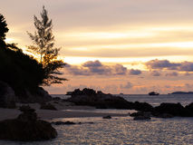Beautiful silhouette sunset sky at Koh Lipe island Royalty Free Stock Images