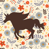 Beautiful silhouette Unicorn horse on a floral Stock Image