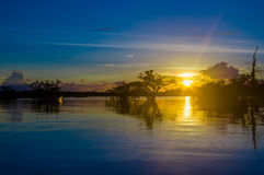 Beautiful Silhouetted Against An Orange Sky At Sunset Over Laguna Grande In The Cuyabeno National Park, In Ecuador Royalty Free Stock Photography
