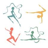 Beautiful silhouettes of gymnastic women Stock Photos