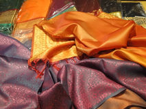 Beautiful silk brocade fabric Stock Images