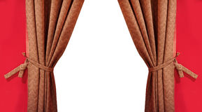 Beautiful silk brown curtain with tassels Royalty Free Stock Image