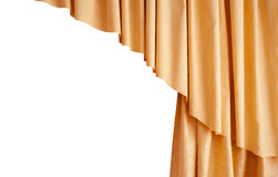 Beautiful silk golden curtain isolated on white background Stock Images