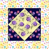 Beautiful silk neck scarf with hand drawn flowers in dot frame. Royalty Free Stock Photo