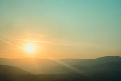 Beautiful silouethe mountain landscape Royalty Free Stock Photography