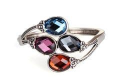 Beautiful silver bracelet with precious stones Royalty Free Stock Photos