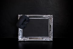 Beautiful silver frame with empty place for your text or design. Carnival mask with edge Stock Images
