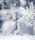 Beautiful silver gift Royalty Free Stock Images