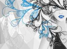 Beautiful silver girl with doodle abstract mask Stock Photo