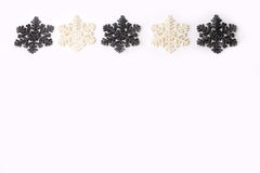 Beautiful silver grey sparkling winter christmas snowflakes Royalty Free Stock Photos