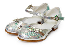 Beautiful silver shoes for girl on white Royalty Free Stock Photo