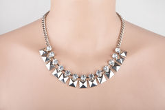 Beautiful silver statement necklace Royalty Free Stock Photos