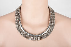 Beautiful silver statement necklace Stock Photos