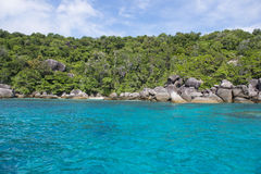 Beautiful similan island like a heaven with blue sky and calm bl Stock Images