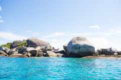 Beautiful similan island like a heaven with blue sky and calm bl. Ue sea surf, Phang-nga, Thailand Royalty Free Stock Images