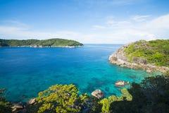 Beautiful similan island like a heaven with blue sky and calm bl. Ue sea surf, Phang-nga, Thailand Royalty Free Stock Photo