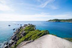 Beautiful similan island like a heaven with blue sky and calm bl. Ue sea surf, Phang-nga, Thailand Royalty Free Stock Photography