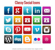 20 Beautiful simple classy social media icons. Including facebook, twitter, instagram, youtube and others Royalty Free Stock Images