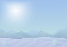 Beautiful simple flat winter mountains landscape background. New Year vector greeting card. Royalty Free Stock Image