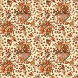 Beautiful simple flowers seamless pattern. Beautiful simple doodling flat flowers seamless pattern. Autumn colors Royalty Free Stock Image