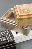 Beautiful simple hand-made boxes on a gray background Royalty Free Stock Image
