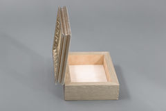 Beautiful simple hand-made boxes on a gray background Stock Image