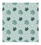 Beautiful simple seamless pattern. Autumn maple leaves in a chaotic manner. Blue-green colors. vector illustration