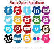 20 Beautiful simple splash social media icons. Including facebook, twitter, instagram, youtube and others Royalty Free Stock Photo