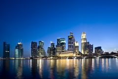 Beautiful Singapore CBD at dusk Stock Images