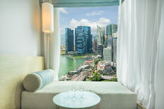 Beautiful Singapore city view at window in Hotel, Marina bay,Sin Stock Images