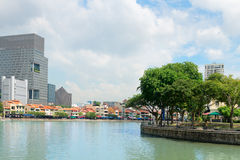 Beautiful Singapore Cityscape from the Boat Quay Royalty Free Stock Photo