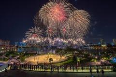 Beautiful Singapore national day fireworks at national stadium.  Royalty Free Stock Image