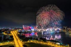 Beautiful Singapore national day fireworks at national stadium.  Stock Image
