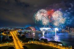 Beautiful Singapore national day fireworks at national stadium.  Royalty Free Stock Photo