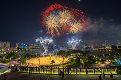 Beautiful Singapore national day fireworks at national stadium Royalty Free Stock Photography