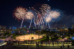 Beautiful Singapore national day fireworks at national stadium Stock Images
