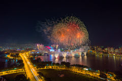 Beautiful Singapore national day fireworks at national stadium.  Stock Images