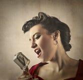 Beautiful singer royalty free stock image