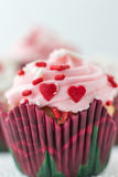 Beautiful single cupcake with icing and little red heart candy. Vertical macro image of a single cupcake with pink swirl icing and little red heart candy sitting Stock Images