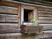 Beautiful single family, traditional, rural, Romanian house on the countryside. Wood texture stock image