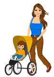 Beautiful single mather pushing stroller Royalty Free Stock Photo