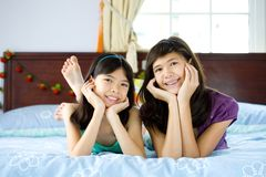 Beautiful sisters enjoying being at home Royalty Free Stock Image