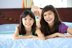 Beautiful sisters enjoying being at home Royalty Free Stock Photography
