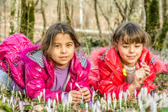 Beautiful sisters  laying in the bells flowers in the forest Royalty Free Stock Image