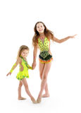Beautiful sisters little gymnasts Stock Photo