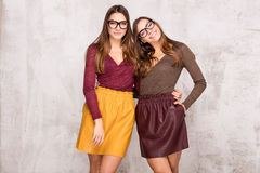 Beautiful sisters twins with amazing smile. Royalty Free Stock Images